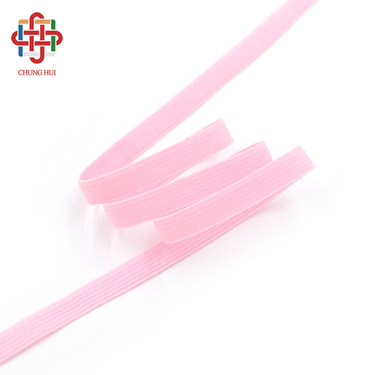 CHUNGHUI Pink Polyester Stretch 7mm Weave Bra Elastic Strap Nylon Lingerie Trim Edge Tape Webbing For Garment Sewing