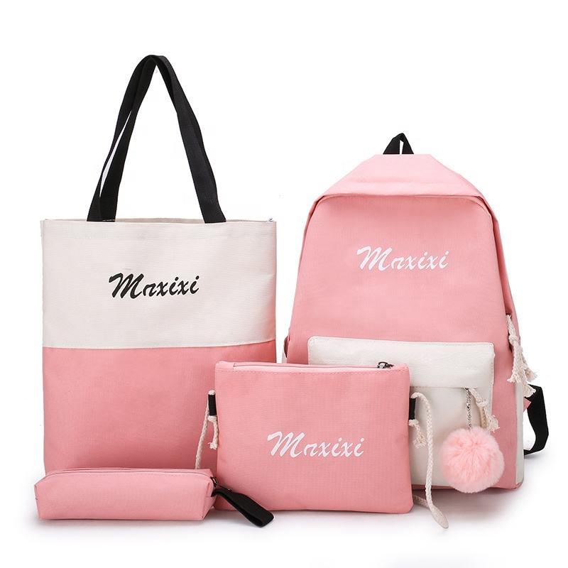 Hot sale gril women school bag pencil pocket purse handbag travel leisure backpack set 4 pieces
