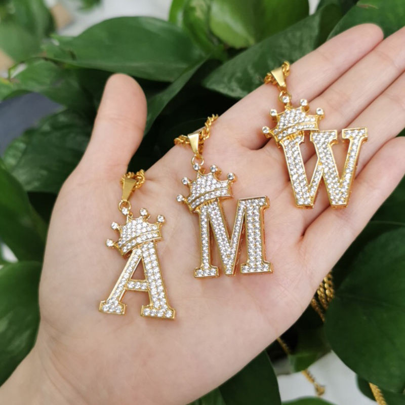 Mini A-Z Zircon Crown Initial Letters Chain Necklaces Pendant For Men Women Gold Chain Cubic Hip Hop Charm Jewelry Gifts