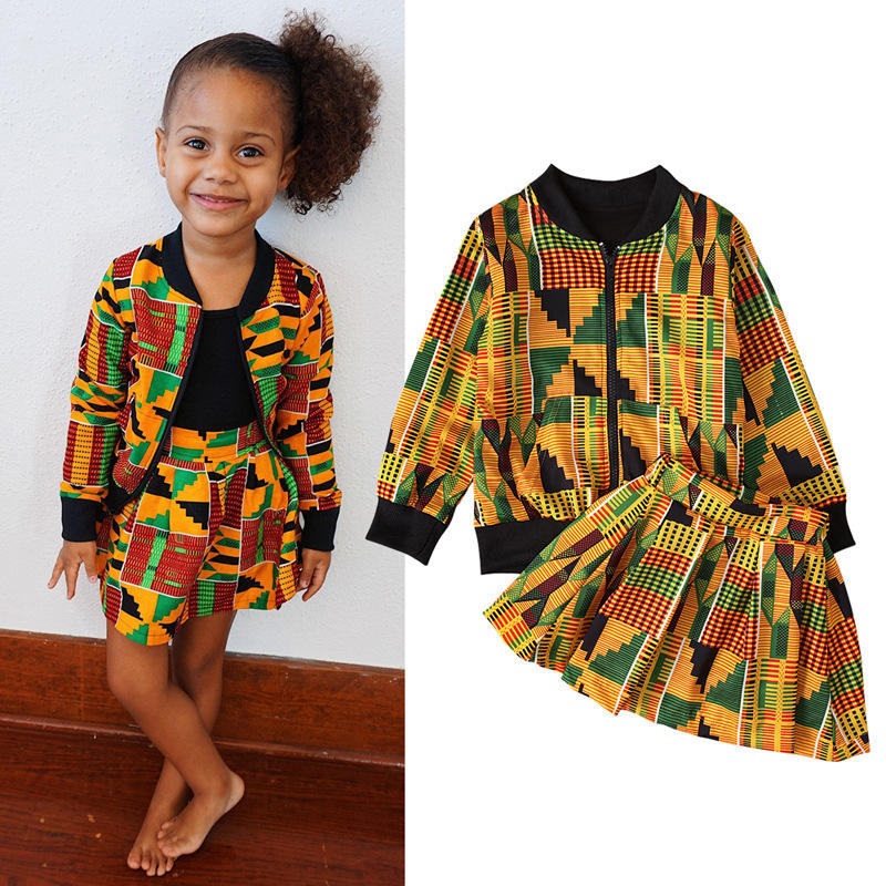 Wholesale African Bohemia print fall clothes sets jacket dress baby girls long sleeve boutique outfits
