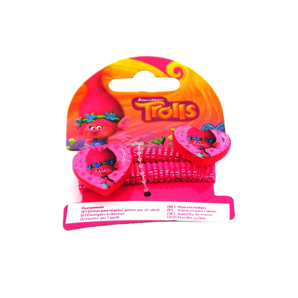 F&J brand trolls wholesale polyester hair tie customized printed hair tie colorful for girls