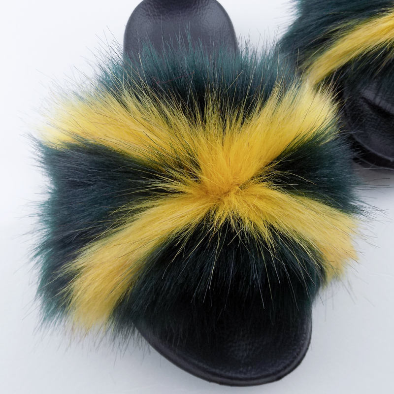 Multicolour women's slippers furry slides fluffy mixed colour slippers