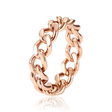 Solid Rose Gold Plated stainless steel jewelry Stainless Steel Cuban Link Ring Micro Chain Link Rings