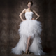 European Spring Fashion bride crop top elegant lace up high low tulle bohemia feather wedding dress bridal gown