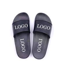 Wholesale Summer Black Plain PVC Custom Logo Slides Footwear Slippers Sandals for Men
