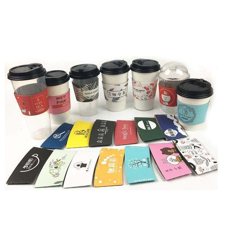 Custom Cardboard Single Wall Paper Coffee Cup With Lids Paper Cup Sleeve With Logo print cupsleeve