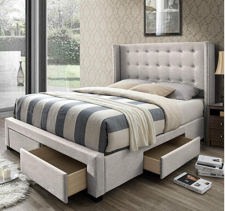 Queen Size Wingback Panel Storage Bed in Grey Fabric with Tufted Wingback Headboard bed and 4 Storage Drawers