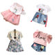 China Wholesale Korean Pink Ruffle Top Denim Shorts Summer Teen Kids Wear Girl Fall Clothing Set Baby Clothes