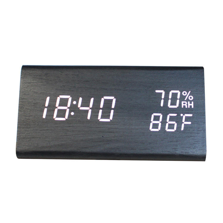 Digital Alarm Clock 3d Led Digital Clock Wooden Electronic LED Time Display 3 Alarm Settings Humidity&Temperature with Led Clock