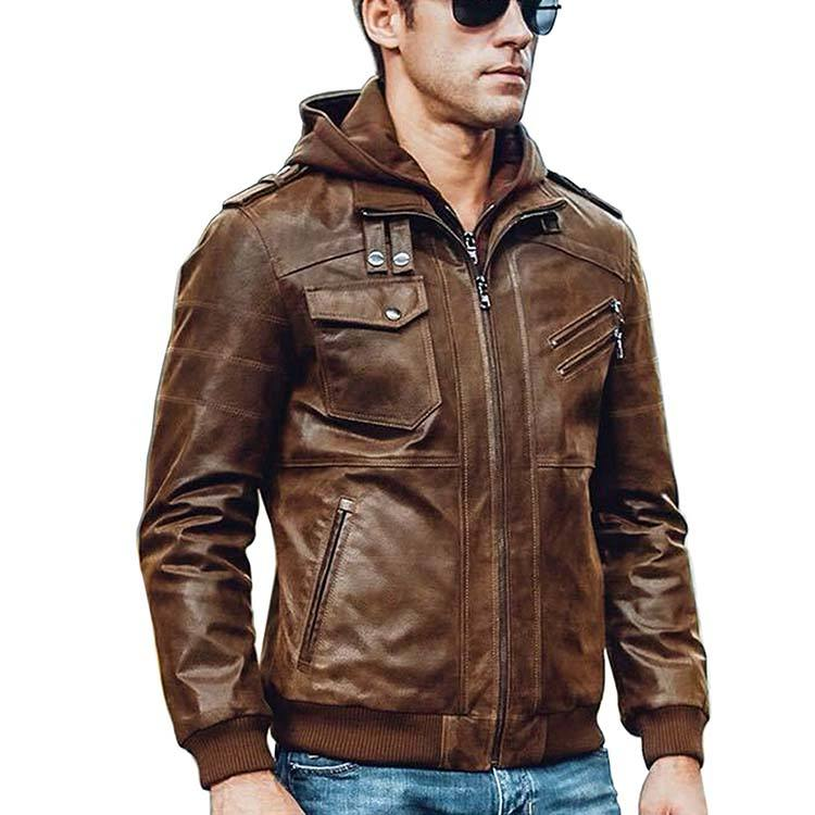 OEM Eu Style Motorcycle Leather Jacket Air Force For Men Thermal Pilot,Fur Hoodie Bomber Jackets