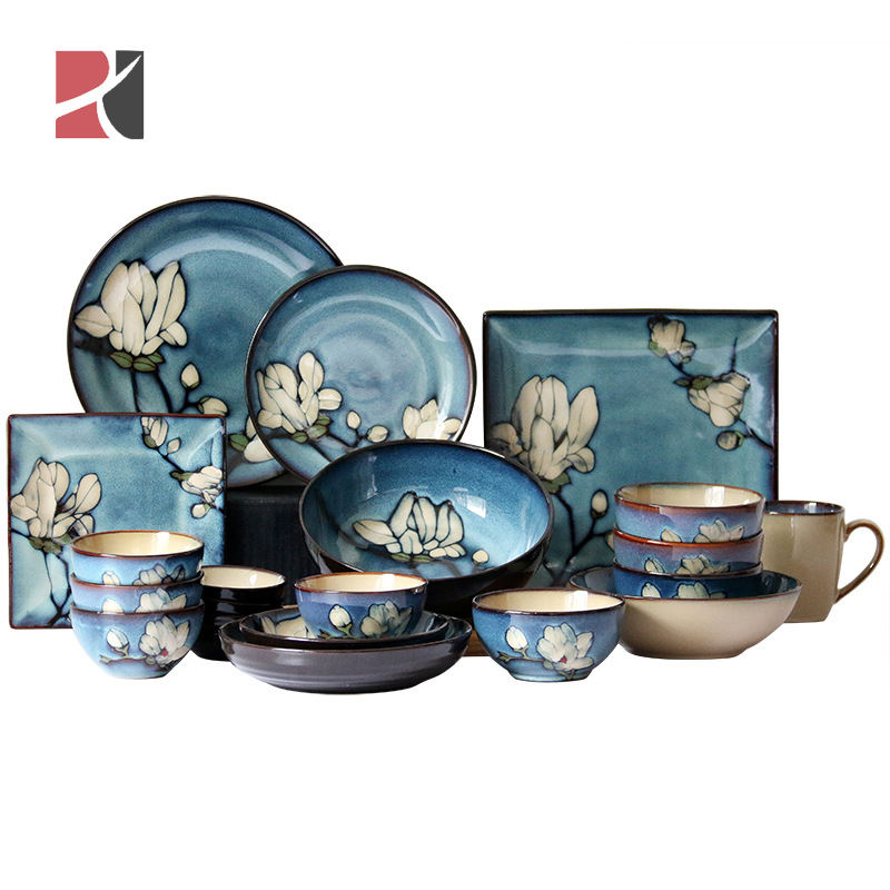 Factory Direct Handmade Plates Flower Korean Style Pattern Dinnerware Fine Bone China Dinner Sets