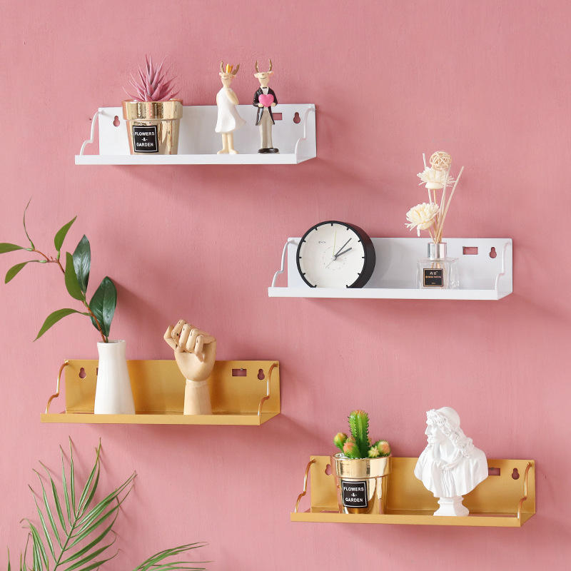 Wall Shelves Rack Kitchen Modern Gold White Hanging Decorative Living Room Furniture Mount Metal Floating Wall Shelf For Bedroom