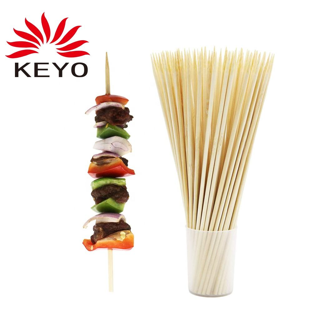 100個30センチメートルDisposable Natural Wood BBQ Skewer Bamboo Sticks