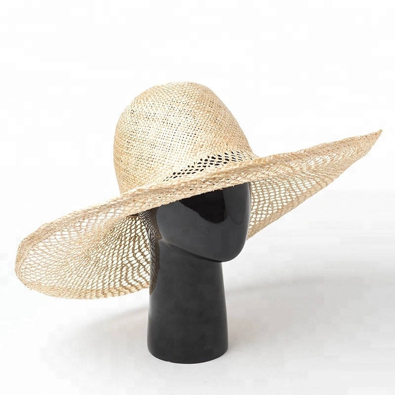 Wholesale Summer Hollow Out Grid Wide Brim Salt Grass Beach Cloche Straw Hat
