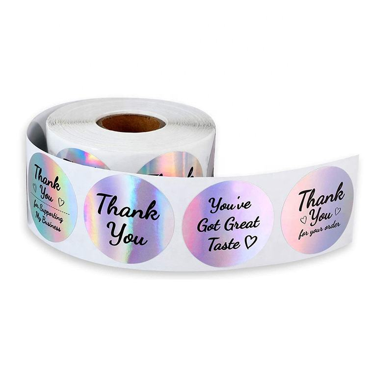 3D/2D Hologram Sticker Printing White Thank You Stickers Transparent thank you stickers for small business