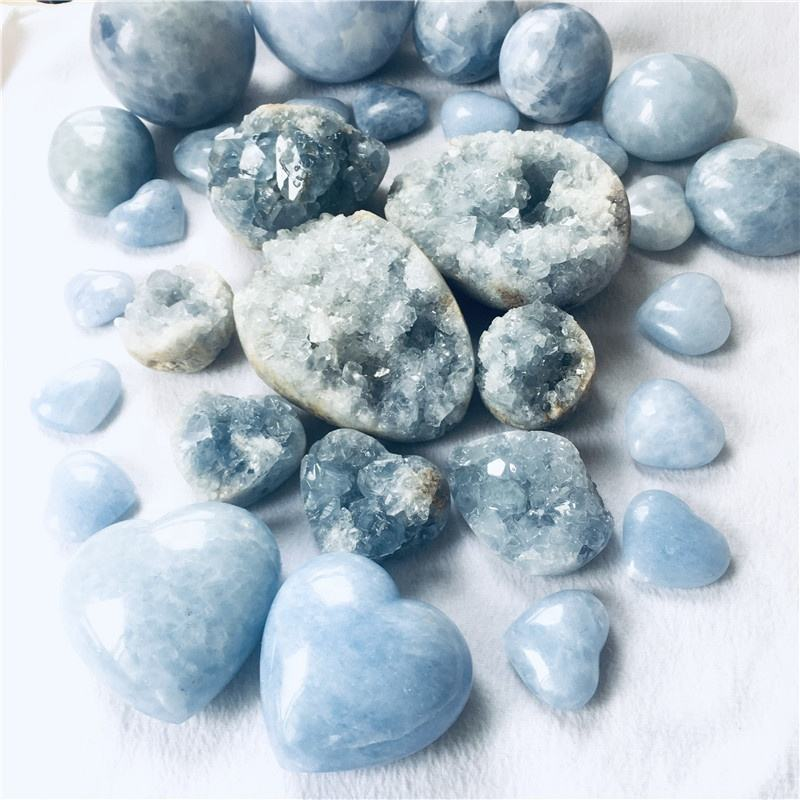 Wholesale Natural Healing Rough Celestite Crystal Cluster Blue Calcite Geodes for Sale