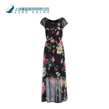 Long models sexy transparent ladies skirts summer floral print dress with ruffle neck