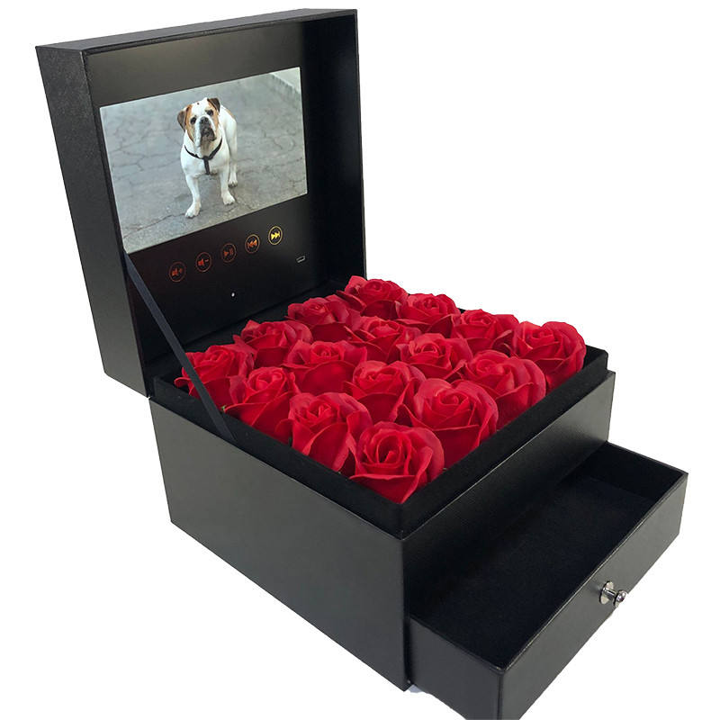 Lcd Screen Box Artificial Preserved Roses For Valentine , Preserved Roses Box