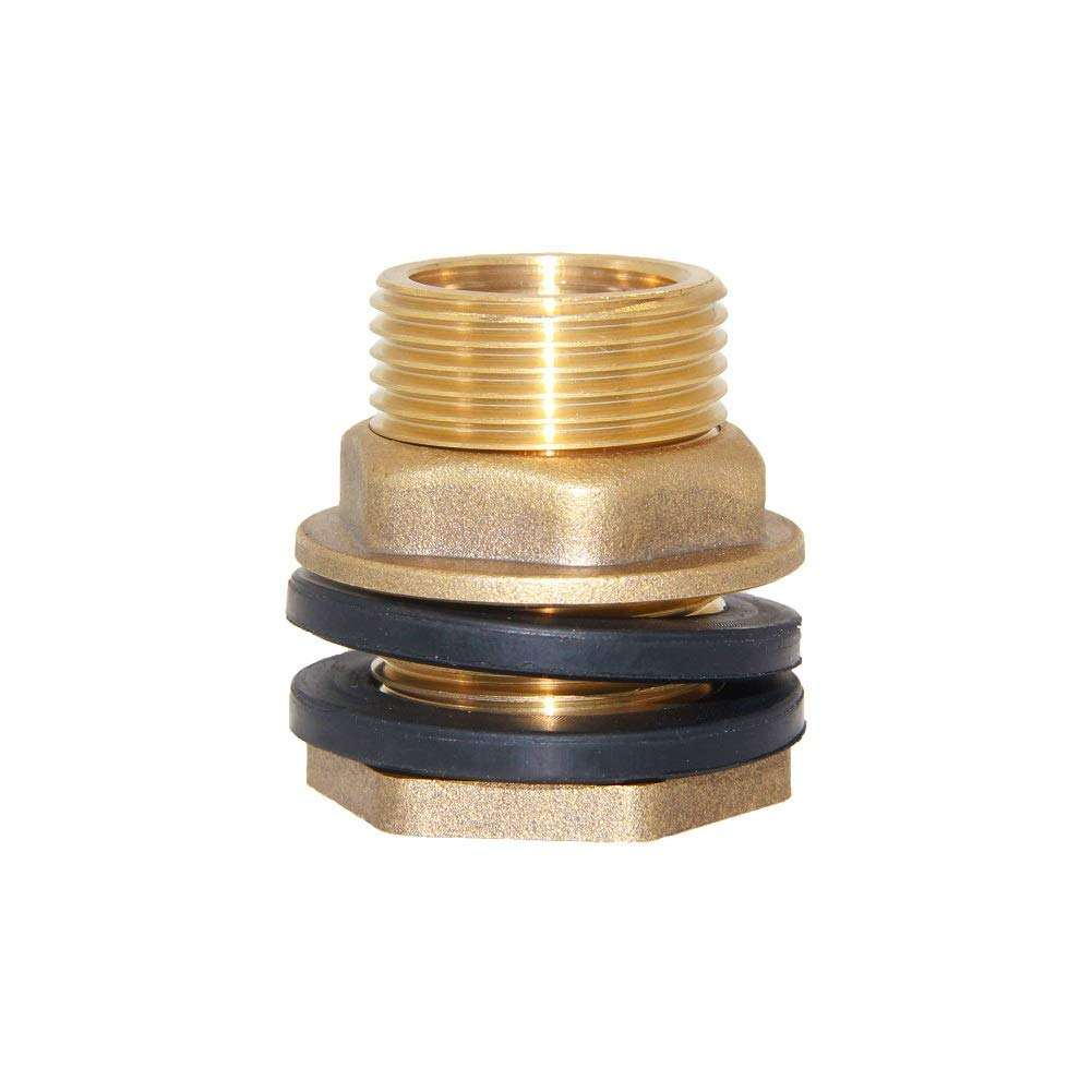 "1/2"" NPT Female 3/4"" GHT Male Soild Brass Water Tank Connector Theaded Bulkhead Fitting with 2 Rubber Ring"
