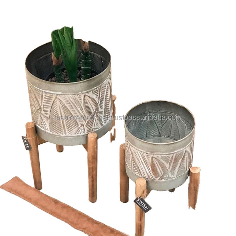 Embossing round planter with iron stand out door indoor home decoration and all weddings ceremony and all prograammed