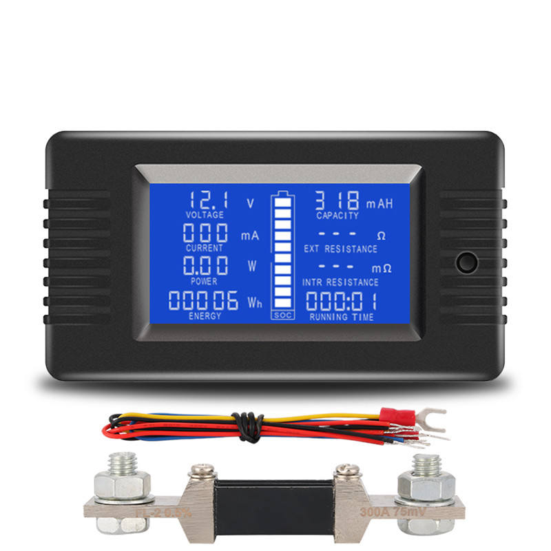 Digital Power Analyzer 0-200V 300A with Diverter Impedance Internal Resistance Capacity Ammeter Battery Meter