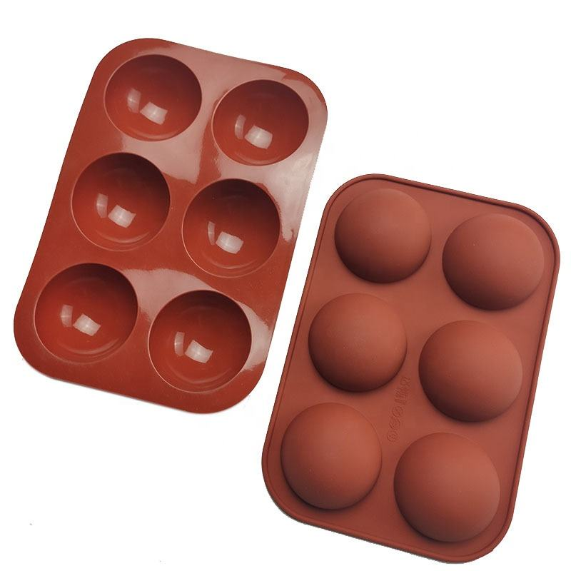 Factory custom silicone Non-Stick 6 Holes Half Round Ball Cup Baking cake candy Pudding moulds chocolate molds