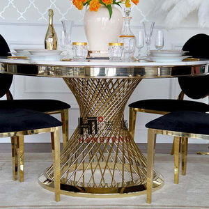 Royal Gold Stainless Steel Mirrored Round Marble Top Dining Table