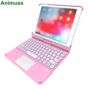 360 Spin Rotating Flip Backlit Wireless Keyboard Tablet Case With Touchpad for iPad