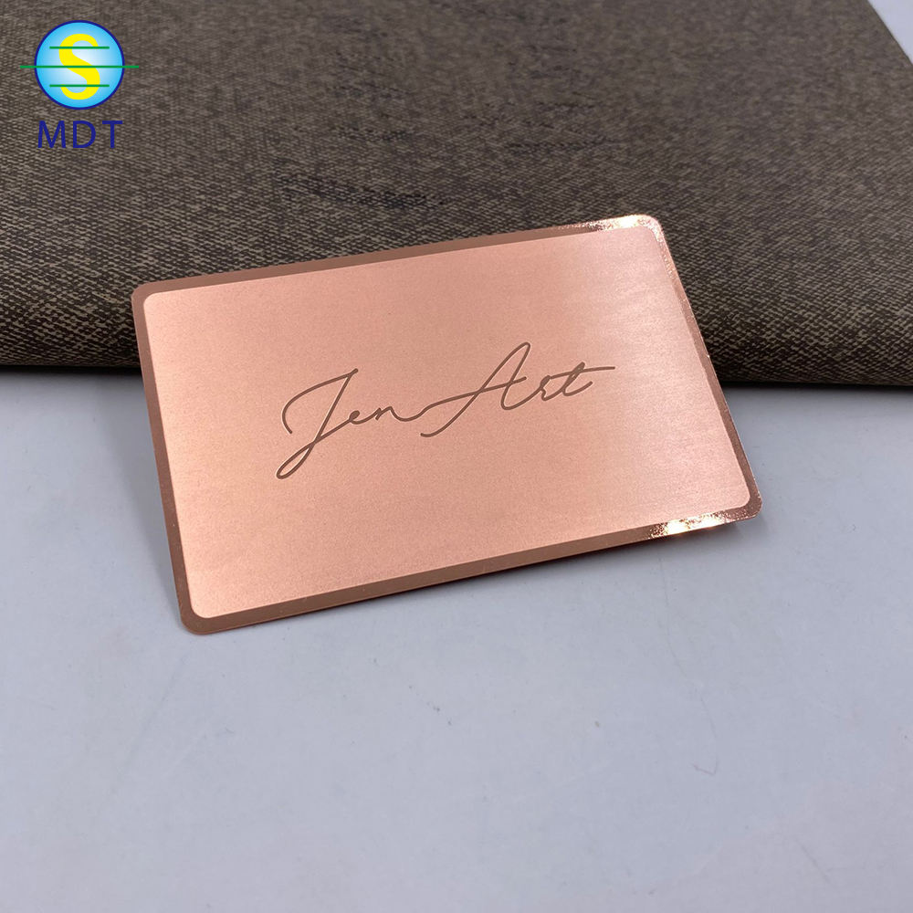 Rose Gold Stainless Steel Embossed Business Cards Metal