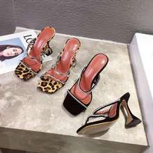 GY3A1-10 Women Sandals Leopard Print Square Toe Rhinestone High Heels Slip On Sandals slippers Fashion Shoes Black Apricot