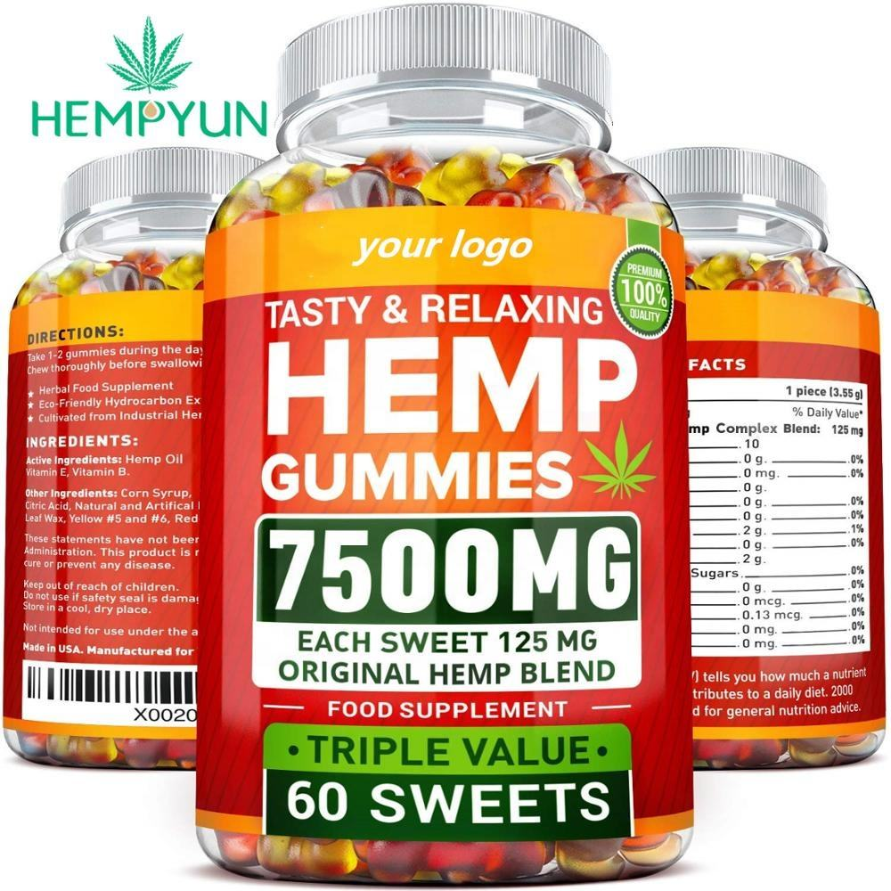 1000mg 1500mg 1250mg with private label logo 50 GRAINS Pure Hemp Gummies Organic Full Spectrum Hemp Extract CBD Gummies Bears