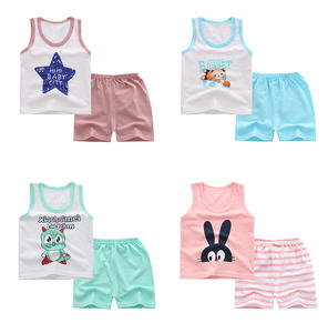 Sleeveless summer 100% cotton baby girls clothing suit Cartoon kids wear little boys clothes set