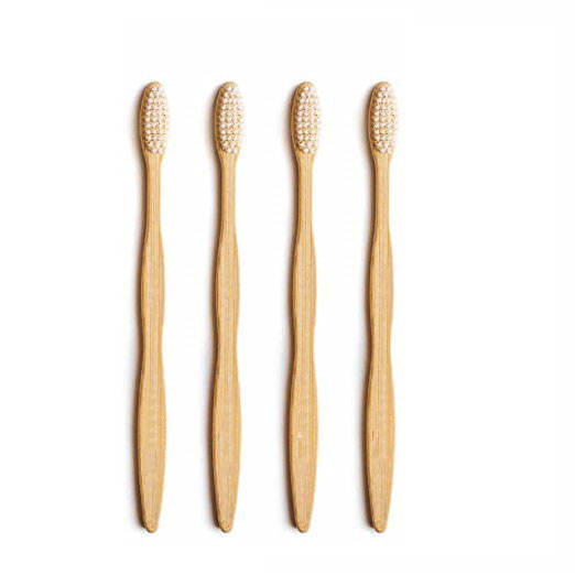 4 Pack White Natural Bamboo Toothbrush With Travel Case Charcoal Medium Bristles BPA-Free, FSC,FDA certificate