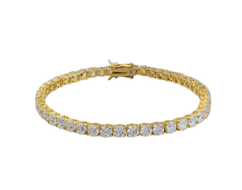 hip hop design gold plated pure sterling silver white zirconia tennis unisex bracelet