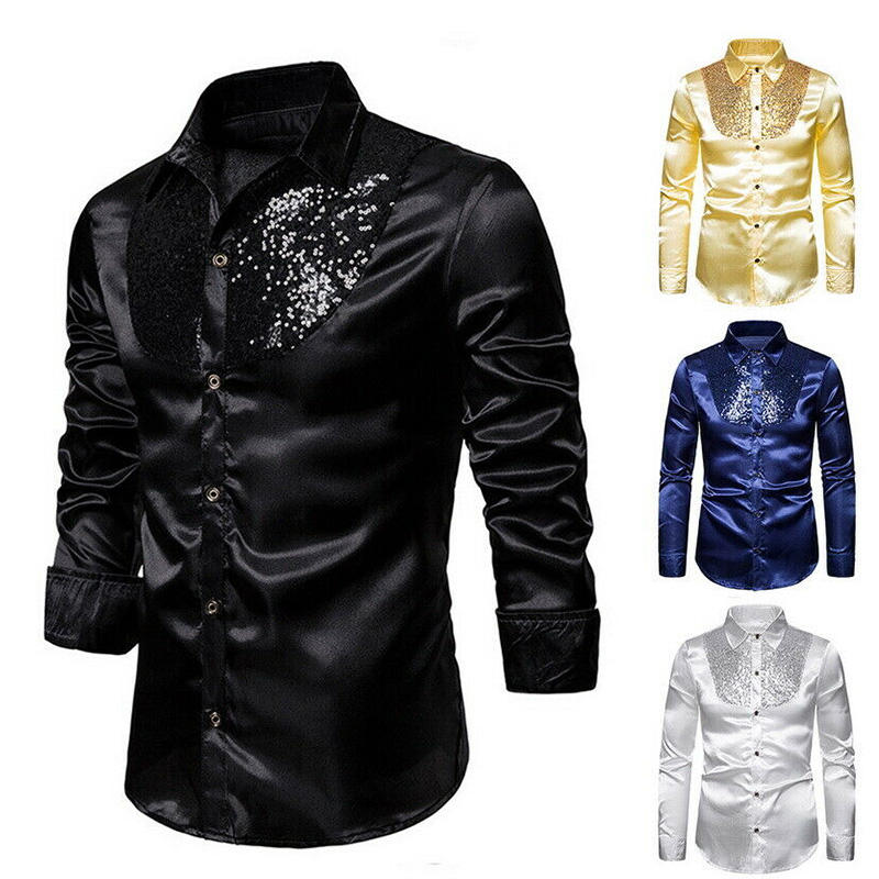 Silk Shirt Men 2019 Satin Smooth Men Solid Tuxedo Shirt Business Chemise Homme Casual Slim Fit Shiny Gold Wedding Dress Shirts