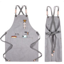 Cross back apron grill  leather apron for men kitchen bakery apron with custom logo