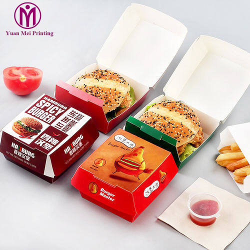burger/pizza/fried chicken/chips/french fries packaging box recycledfood grade eco-friendly take away food paper box