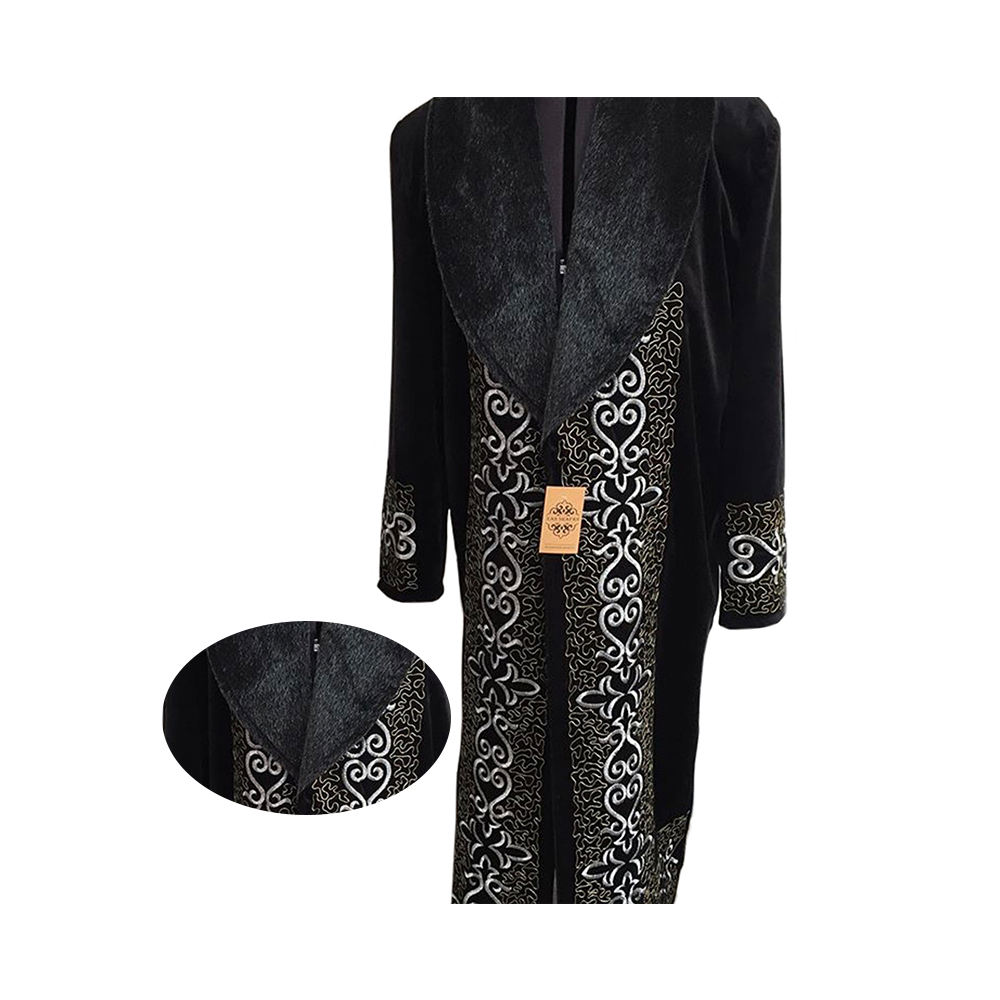 Traditional Robe Overcoat Men Clothing with Faux Fur Collar