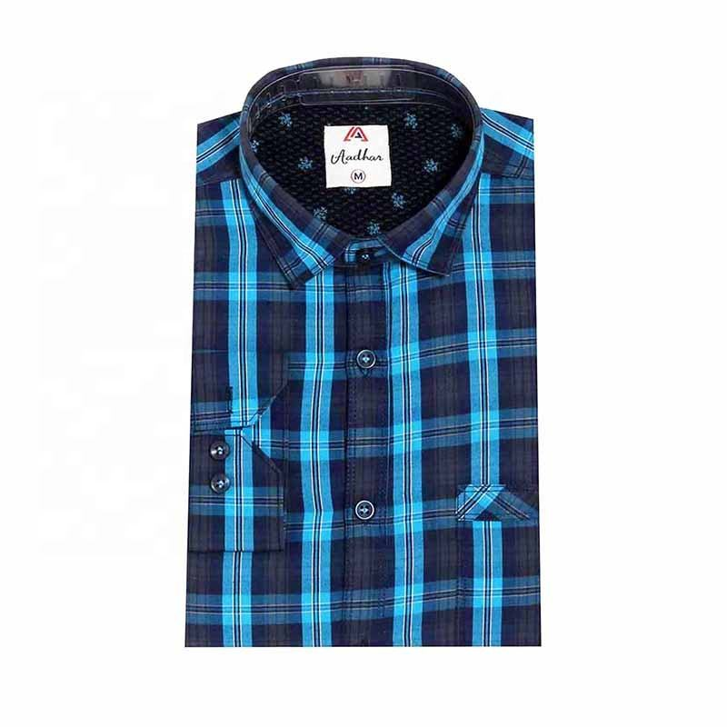 Cotone india del manicotto di lunghezza completa uomini <span class=keywords><strong>camicia</strong></span> casual plaid controlli slim fit regualar confortevole <span class=keywords><strong>indiano</strong></span> camicie con colletto