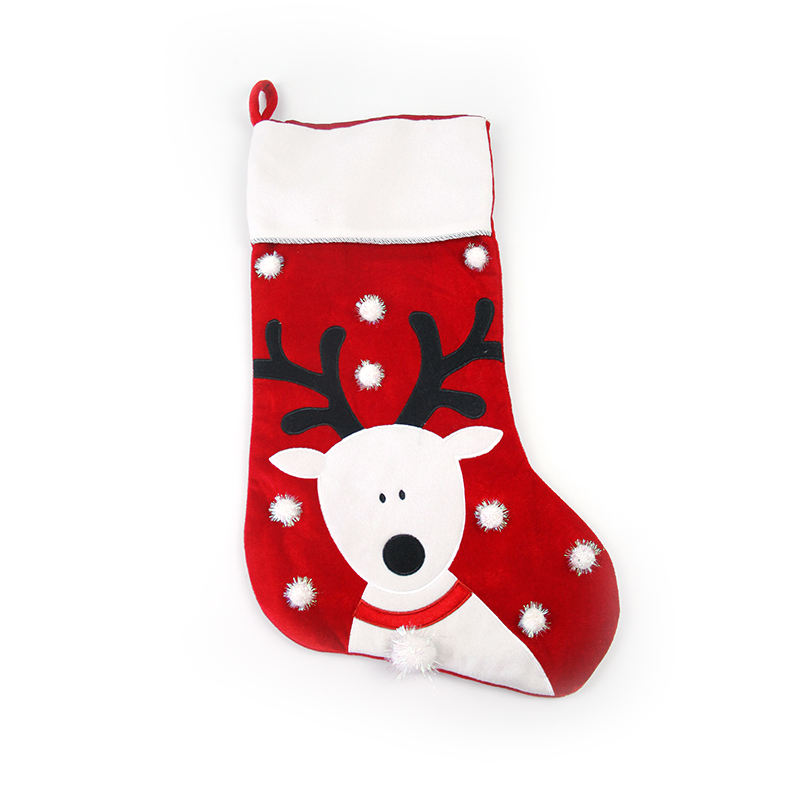 Wholesale custom fleece red christmas stocking socks gifts christmas decoration