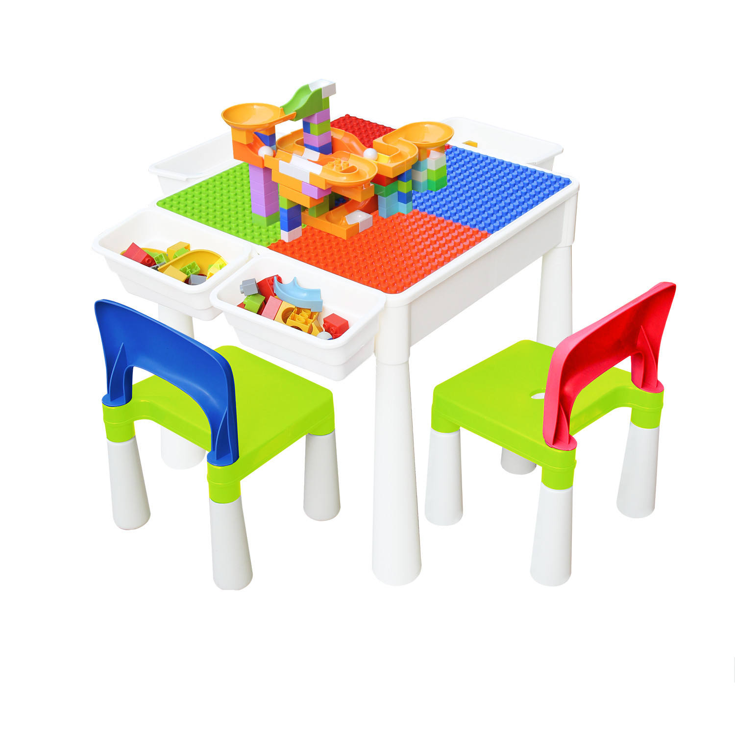 Multi Activity Building Blocks Table Set for Kids Toddler with 2 Chairs Arts Crafts Water Play Table with Storage Space
