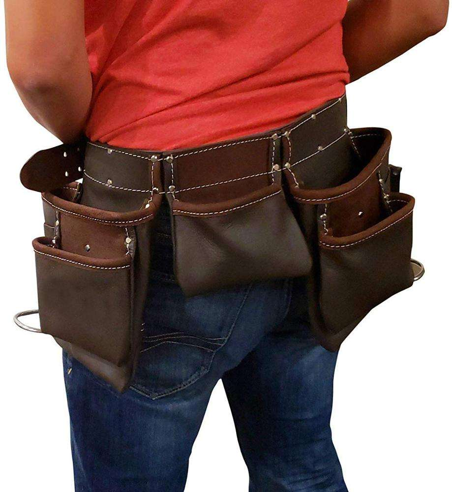 Heavy Duty Leather Tool Bag Pouch with Belt for Carpenter/ Electrician/ Handyman's Work