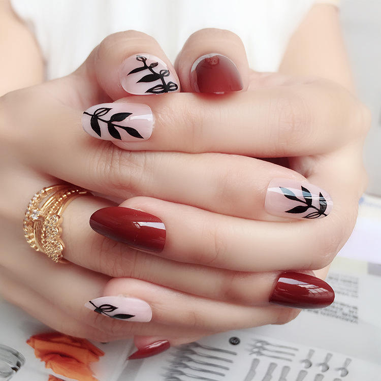 Lady Full Cover False Nails Artificial Design Tips Japan Nail Sticker Custom Set