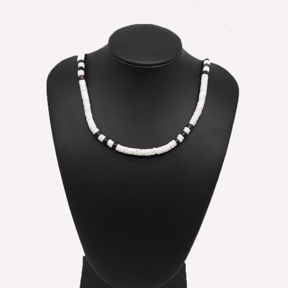 2020 Hot Sale Made In China personalized white black beads cowrie shell choker necklace jewelry