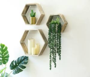 Mayco Fast Dispatch Vintage Rustic Decoration Wooden Design Floating Cube Hexagon Wall Shelf