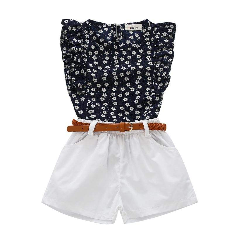 Summer Casual Clothes Sets Children Sleeveless Print T-shirt + Short Pants Children Suits Girl Clothing Set