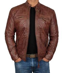 Brown Genuine Leather Jacket Men for Bikers Waxed Cafe Racer Vintage Motorcycle Jackets All Sizes with Customized Logo and Label