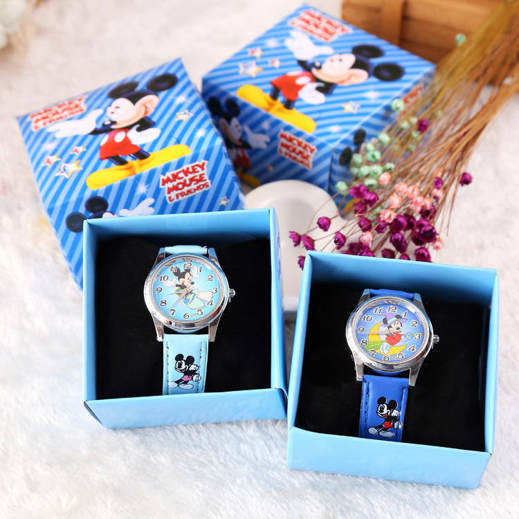 New Children Cartoon Watch +Box Set Mickey Minnie Watches For Kids Gifts Students Birthday Gifts Quartz Leather Clock Girl watch
