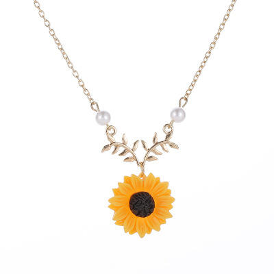 Fashion Delicate For Women Creative Pearls Jewelry Necklaces Sunflower Pendant Necklace