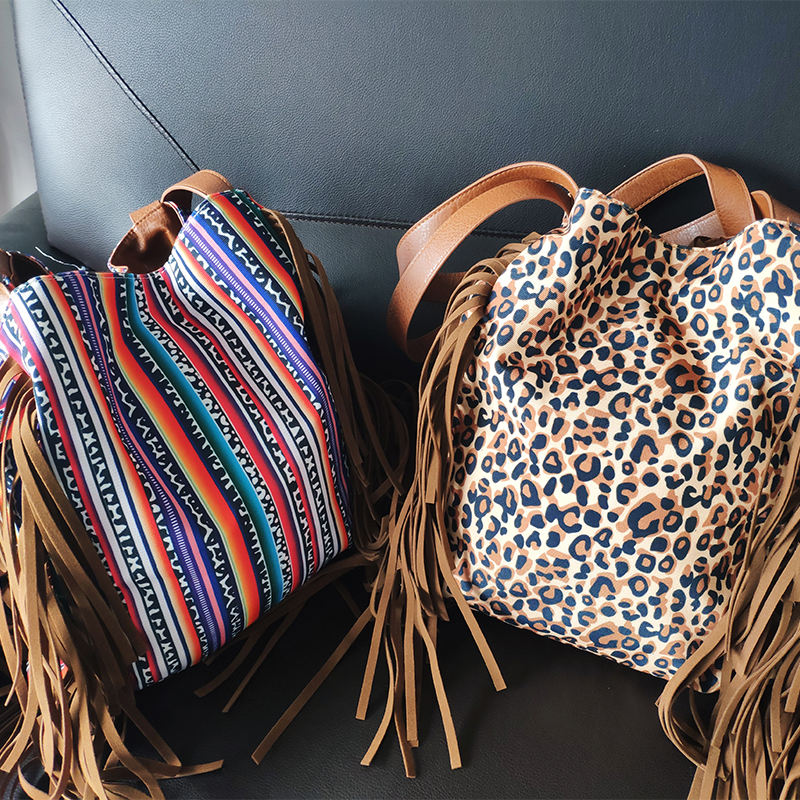 Wholesale Personalized Woman Gift Practical Suede Fringe Tote PU Leather Serape Tassel Leopard Hobo Bag